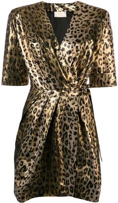 Sara Battaglia leopard wrap dress