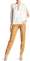 Halston Straight Leg Leather Pant