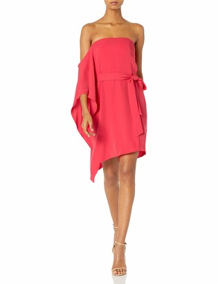 Halston Women's Asymmetrical Off The Shoulder Sleeve Flowy Dress