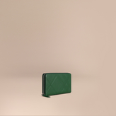 Burberry Check-embossed Leather Ziparound Wallet