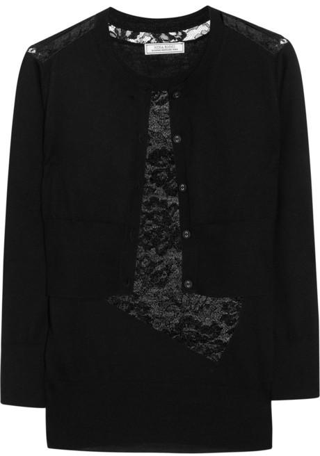 Nina Ricci Lace-paneled cashmere and silk-blend top