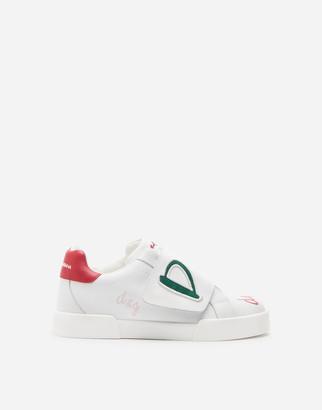 Dolce & Gabbana Calfskin Portofino Light Sneakers With We Are Print