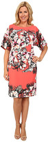 Adrianna Papell Plus Size Dolman Sleeve Placed Tropical Print Sheath Dress