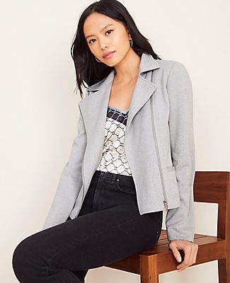 Ann Taylor Herringbone Knit Moto Jacket
