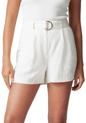 Forever New Clara Belted Linen Blend Shorts