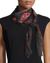 Alexander McQueen Foulard Silk Mixed Skull Scarf, Black/Red