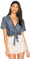 Charli Sarai Tie Front Button Up in Blue. - size L (also in M,S,XS)