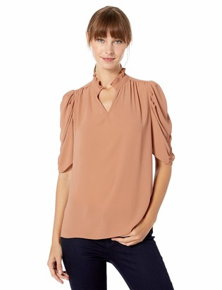 Lark & Ro Amazon Brand Women's Half Sleeve Ruffle Neck Woven Blouse