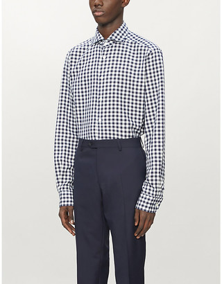 Eton Checked slim-fit cotton and silk-blend twill shirt