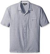 Stacy Adams Men's Big-Tall Melange Linen Blend Short Sleeve Shirt B and T Neutral
