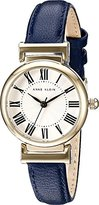 Anne Klein Women's AK/2246CRNV Gold-Tone and Navy Blue Leather Strap Watch