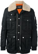 DSQUARED2 shearling trim shell jacket