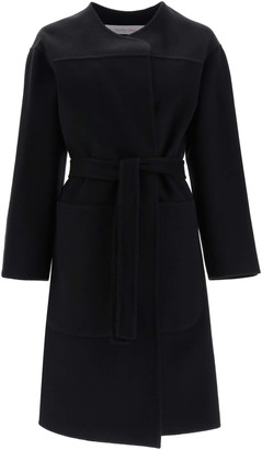 See by Chloe WRAP COAT 38 Black Wool, Cashmere