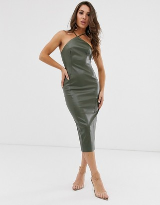Asos Design DESIGN halter pu bodycon midi dress-Green