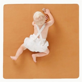 Gathre Mini Leather Highchair Mat, Tummy Time Mat, Playmat in Saddle