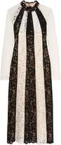 Vilshenko Two-tone cotton-blend guipure lace midi dress