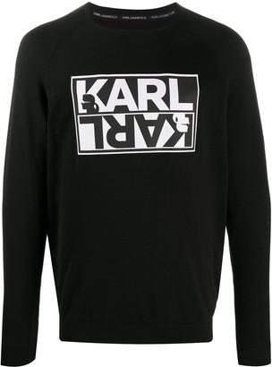 Karl Lagerfeld Paris Logo-Print Crew Neck Jumper