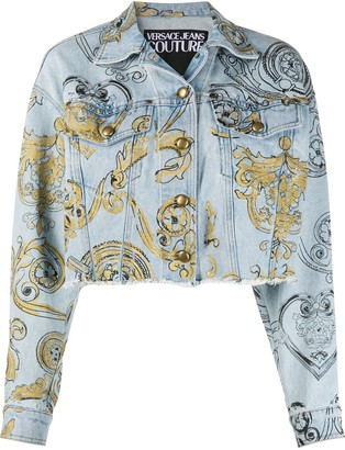 Versace Jeans Couture Cropped Baroque Print Denim Jacket
