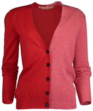 Marni Orange and Red Color Blocked Cardigan