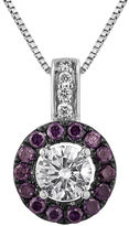FINE JEWELRY LIMITED QUANTITIES 5/8 CT. T.W. White and Color-Enhanced Purple Diamond Halo Pendant Necklace