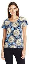 Rafaella Women's Plus Size Sunburst Flowers Tee