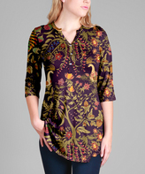 Purple & Gold Button-Front Three-Quarter Sleeve Tunic - Plus Too