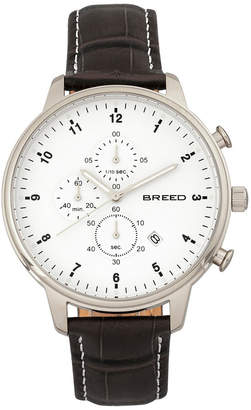 Breed Quartz Holden Chronograph Silver Genuine Leather Watches 45mm