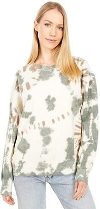 Lucky Brand Tie-Dye Pullover (Whisper White) Women's Clothing