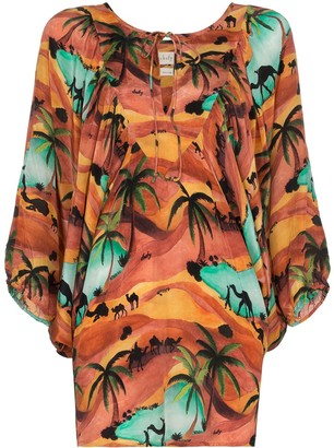 CHUFY Oasis print batwing sleeve top