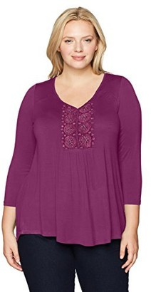 One World ONEWORLD Women's Plus Size 3/4 Sleeve Solid Knit Henley with Crochet Applique