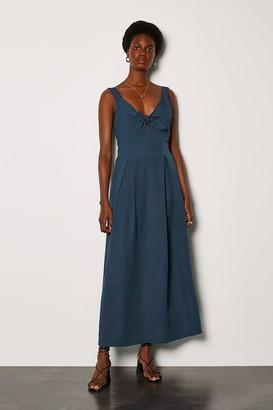 Karen Millen Linen Tie Front Midi Dress