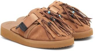 Alanui x Suicoke fringed suede slippers