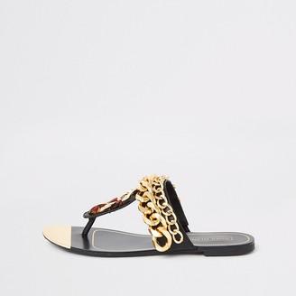 River Island Black chain toe thong sandals