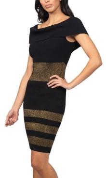 Bebe Juniors' Metallic-Striped Sweater Dress