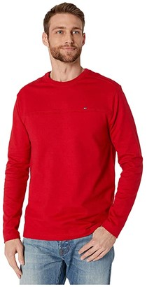 Tommy Hilfiger Adaptive Solid Long Sleeve T Shirt with Magnetic Buttons at Shoulders (Sky Captain) Men's Clothing