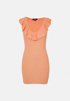 Missguided Peach Ruffle Plunge Neck Mini Dress