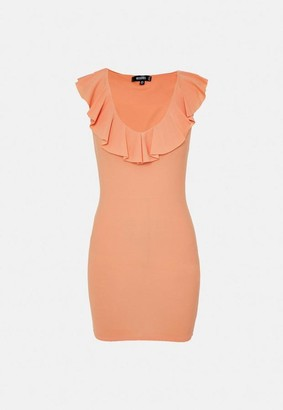 Missguided Ruffle Plunge Neck Mini Dress