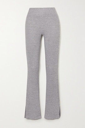 Rag & Bone Ribbed Melange Stretch-knit Flared Pants - Light gray