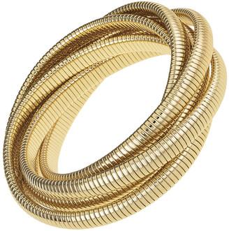 Janis Savitt High Polished Yellow Gold Plated Six Cobra Bracelet