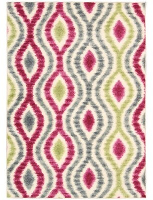 "Waverly Aura of Flora ""Optical Delights"" Jazzberry Area Rug Rug Size: Rectangle 7'9"" x 10'10"""