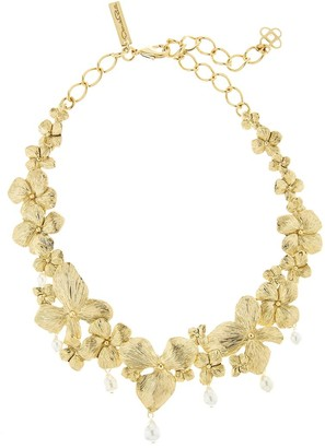 Oscar de la Renta Flower And Pearl Necklace