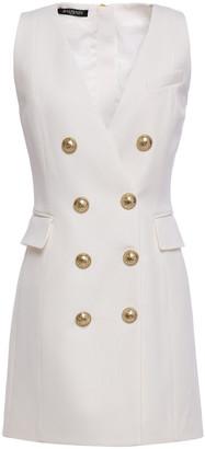 Balmain Button-embellished Wool-twill Mini Dress