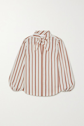 See by Chloe Pussy-bow Striped Crepe Blouse - Ecru