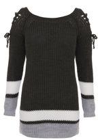 Quiz Khaki Cream and Grey Knitted Jumper