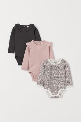 H&M 3-pack Cotton Bodysuits - Pink