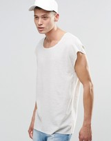 Asos Longline Oversized T-shirt With Scoop Neck In Waffle Fabric