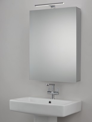 John Lewis & Partners Premiere Single Mirrored and Illuminated Bathroom Cabinet