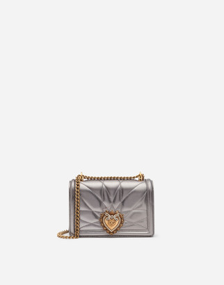 Dolce & Gabbana Small Devotion Crossbody Bag In Quilted Nappa Mordore Leather
