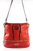 Jimmy Choo Red Leather Gold Tone Accents Medium Marina Handbag