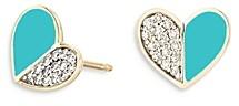Adina Reyter 14K Yellow Gold Diamond & Turquoise Ceramic Heart Stud Earrings